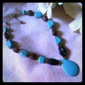 Vintage Wood & Lucite Bead Pendant Necklace